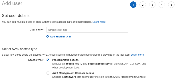 """Image of AWS account sign in page – selecting """"Programmatic access"""" for access type."""