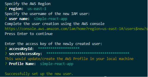 Image of CLI prompt with accessKeyId and the secretAccessKey entered