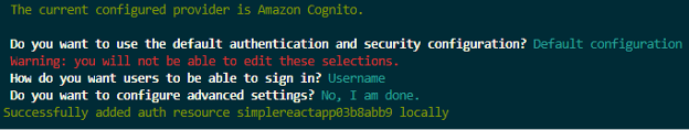 """Image of Amazon Cognito set up – running command """"amplify add auth"""" and answering CLI prompt"""