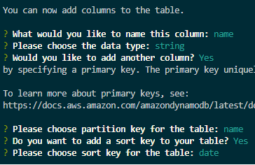 """Image of choosing partition key for the table: """"name"""" and adding a sort key to the table: """"yes""""."""