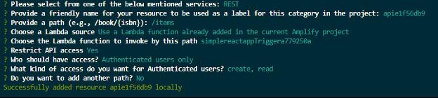 Image of running REST API.